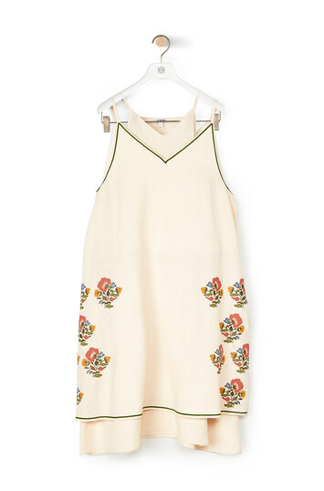 LOEWE Double Layer Dress Flower Embroidery Ecru front