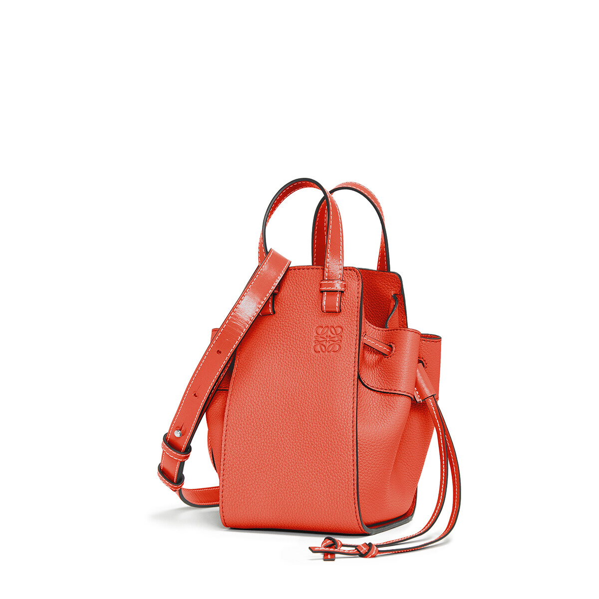 LOEWE Hammock Drawstring Mini Bag Vermillion front