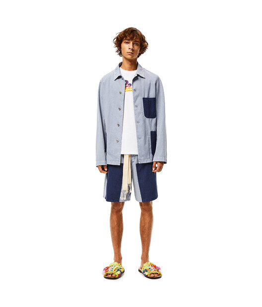 LOEWE Patch Shorts In Cotton Indigo/Light Blue front