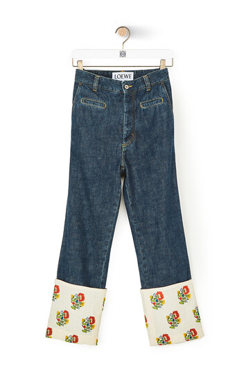 LOEWE Fisherman Jeans Flower Embroidery インディゴ front