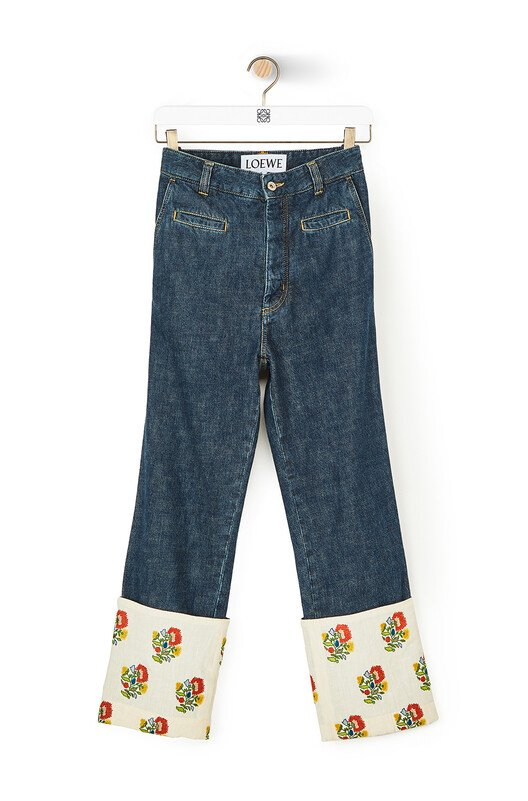 LOEWE Fisherman Jeans Flower Embroidery Indigo front