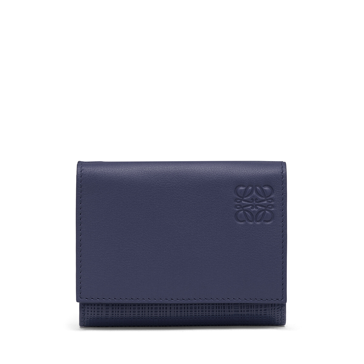 LOEWE Linen Trifold Wallet Navy Blue front