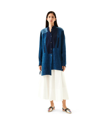 LOEWE Long Asymmetric Shirt Azul Multitono front