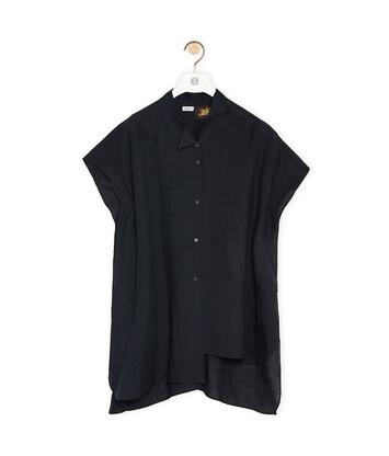 LOEWE Asymmetric Oversize Shirt In Linen Black front