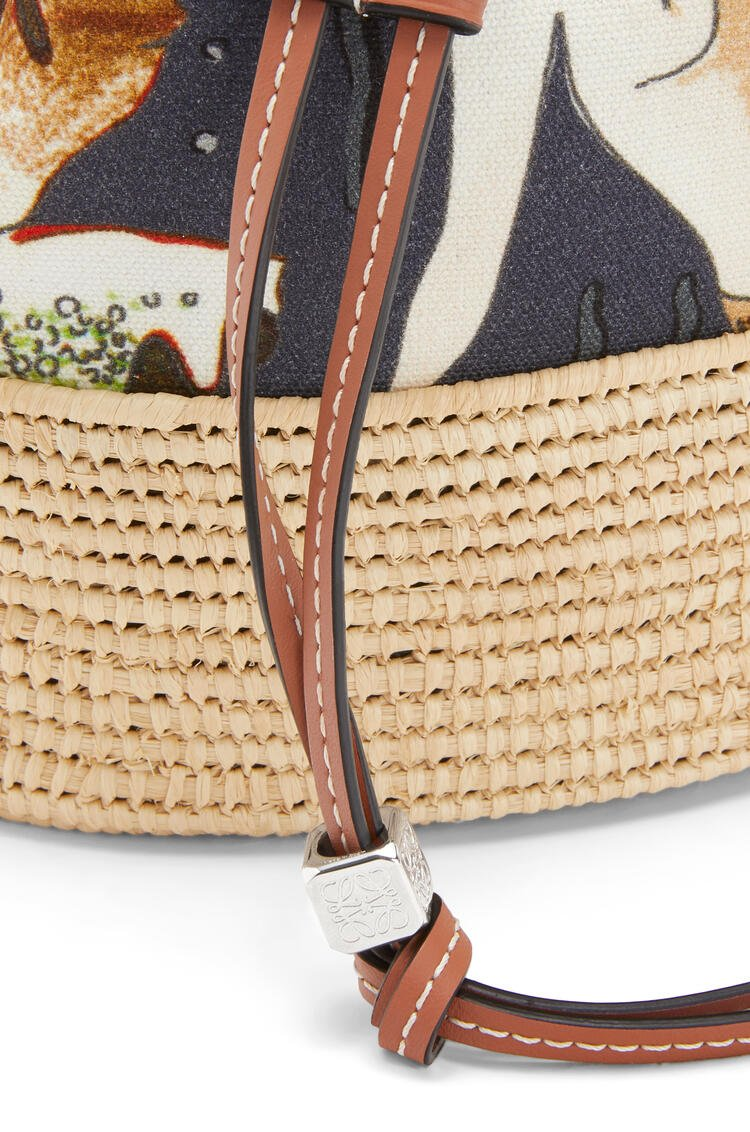 LOEWE Small Balloon bag in printed canvas and raffia Black/Natural pdp_rd