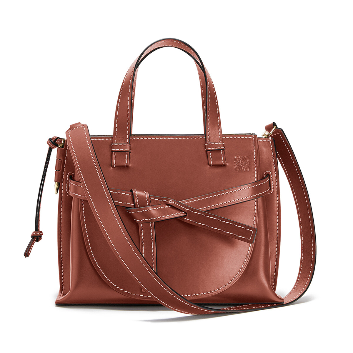 LOEWE Gate Top Handle Small Bag Rust Color front