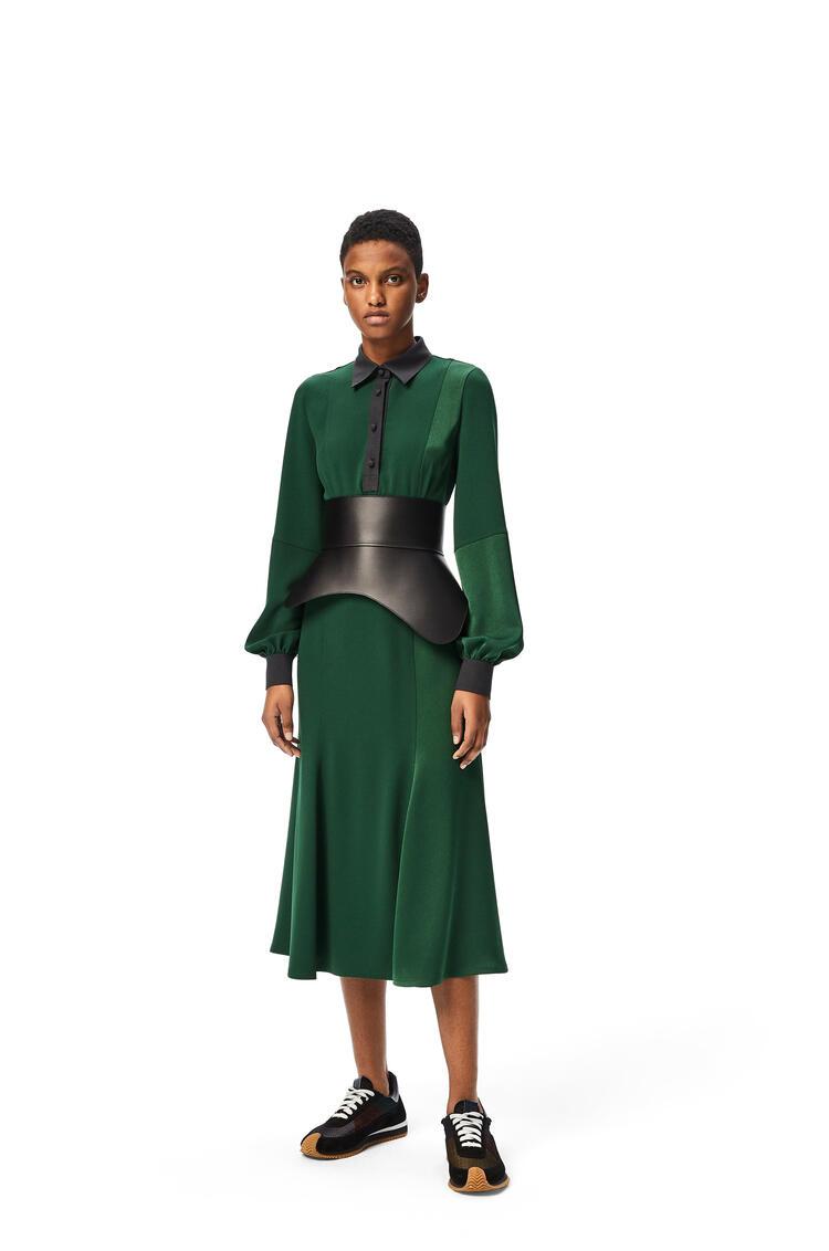 LOEWE Polo collar midi dress in satin back crepe Emerald Green pdp_rd