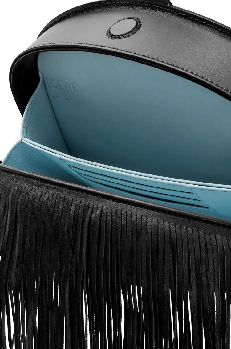 LOEWE Heel clutch fringes bag in soft calfskin Black pdp_rd