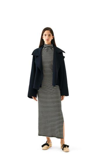 LOEWE High neck jersey dress in striped cotton Ecru/Black pdp_rd