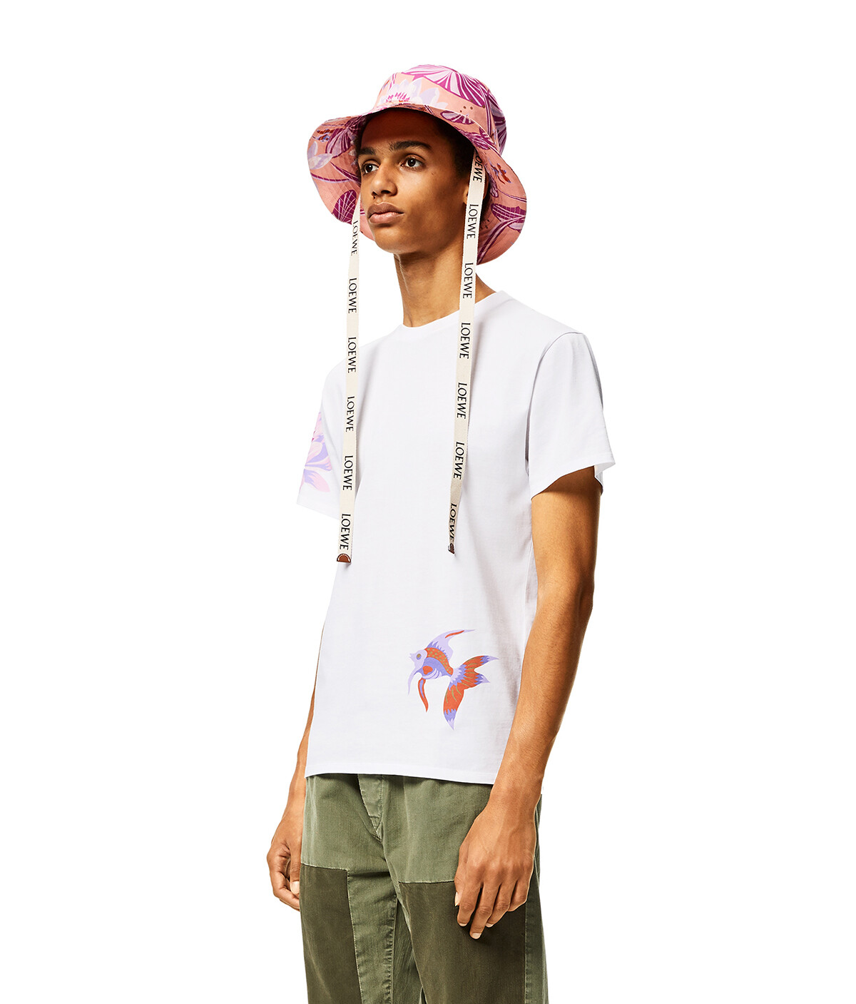 LOEWE Fisherman Hat Waterlily In Canvas 粉紅 front