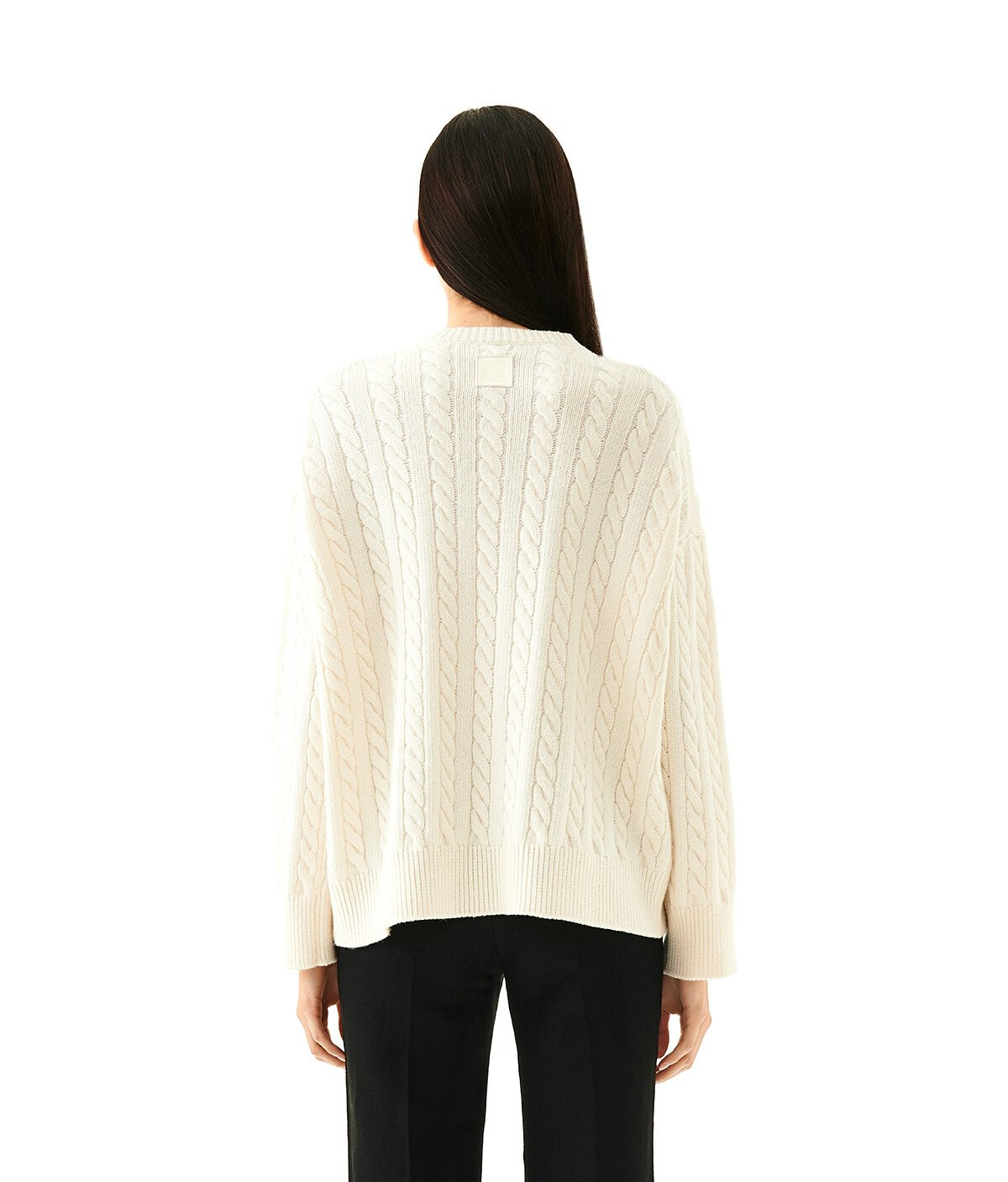 LOEWE Cable Crewneck Sweater Ecru front