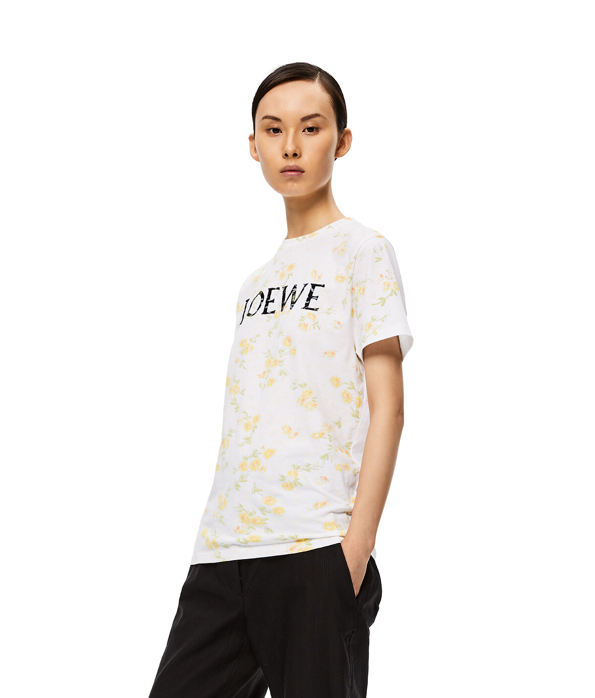 LOEWE Flower Print Loewe T-Shirt Blanco/Amarillo front