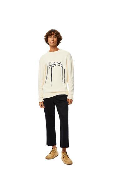 LOEWE Loewe Stitch Sweater In Cotton Ecru/Navy Blue pdp_rd