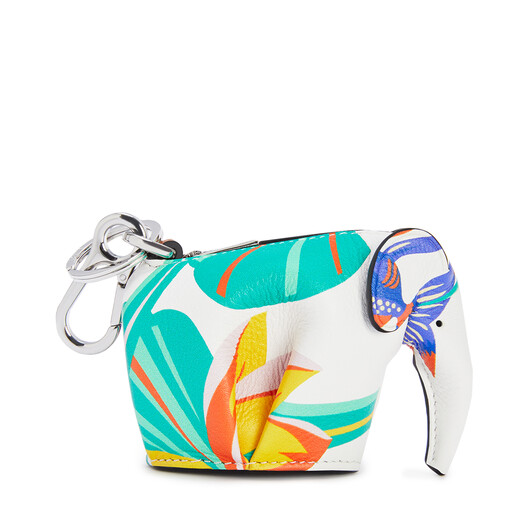 LOEWE Elephant Charm In Waterlily Classic Calfskin 白 front