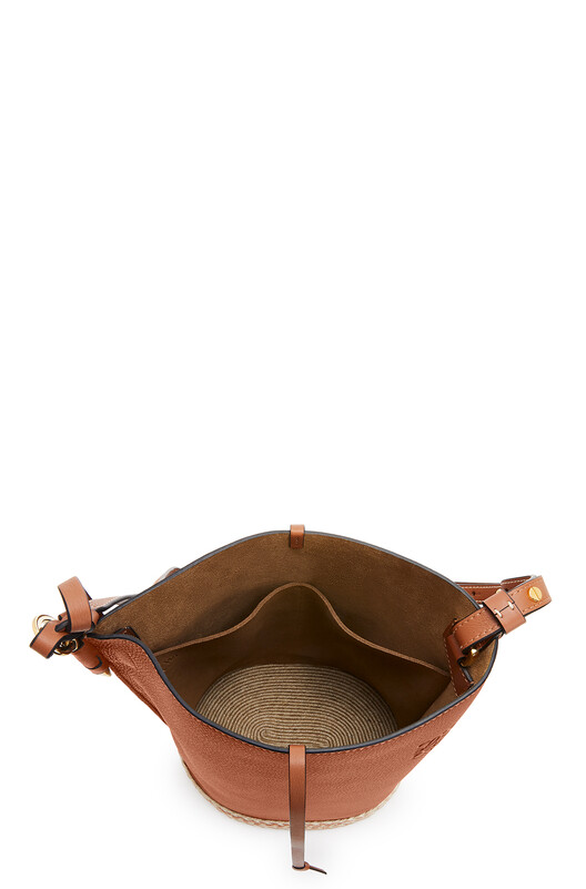 LOEWE Gate Bucket Bag In Soft Grained Calfskin And Raffia Tan front