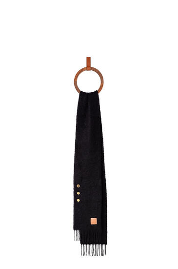 LOEWE Buttons scarf in mohair and wool Black pdp_rd