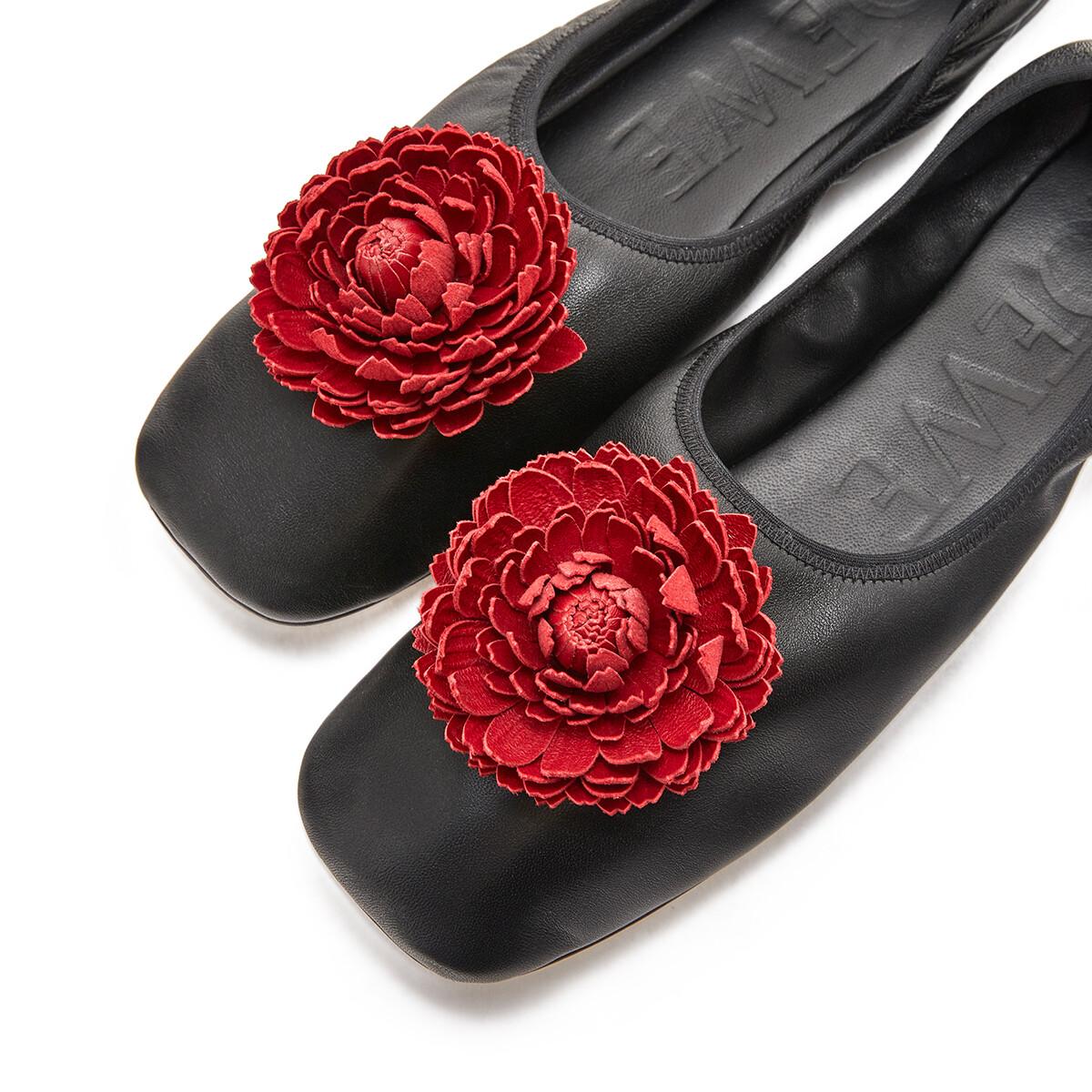 LOEWE Ballerina Flower 黑色/紅色 front