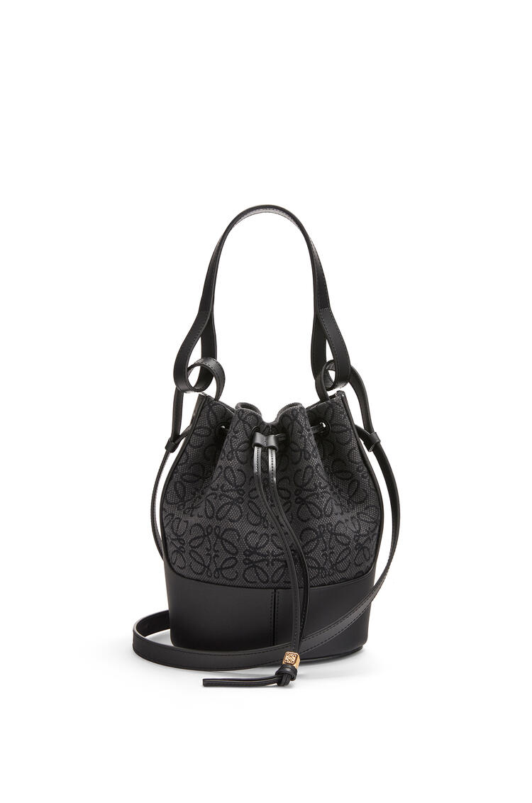 LOEWE Small Balloon bag in Anagram jacquard and calfskin Anthracite/Black pdp_rd