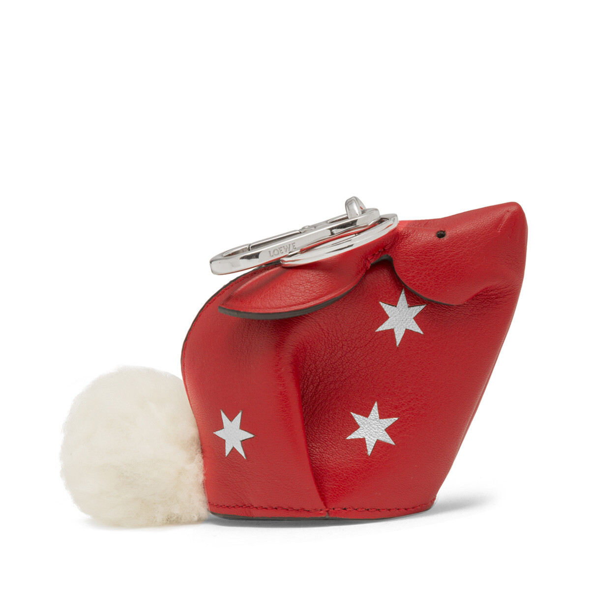 LOEWE Charm Conejo Estrellas Rojo Escarlata/Plata front