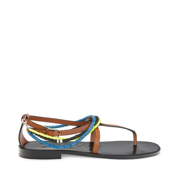 LOEWE Paula Flat Sandal Beads Tan front
