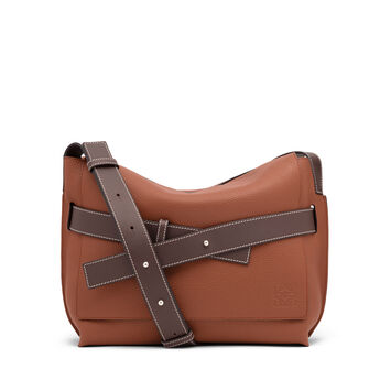 LOEWE Strap Messenger Small Bag Cognac/Chocolate Brown front