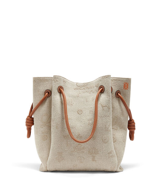 LOEWE Flamenco Knot Tote Logos Bag Natural/Tan front