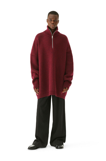 LOEWE Oversize Zip Sweater バーガンディー front