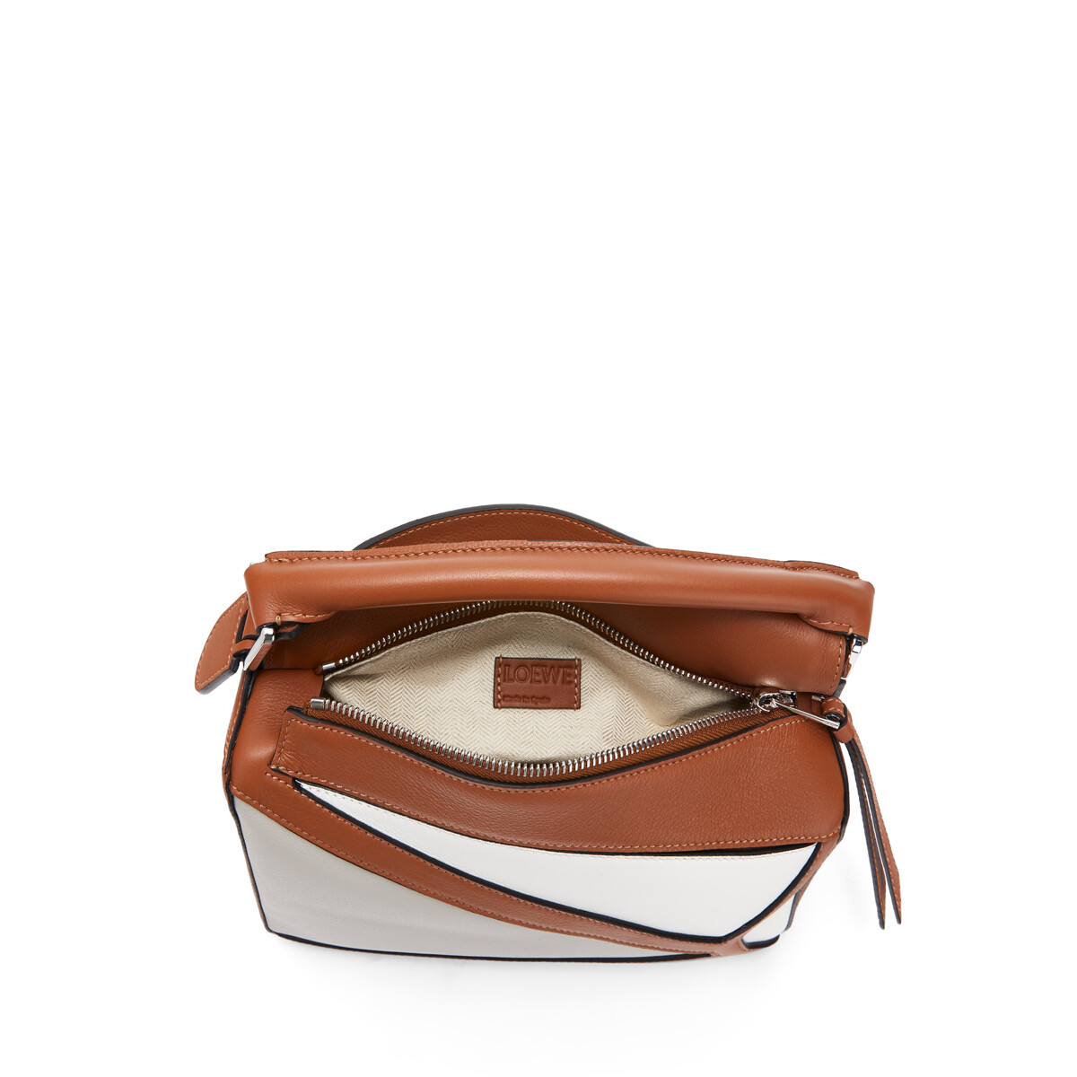 LOEWE Puzzle Grid Small Bag Ghost/Soft White front