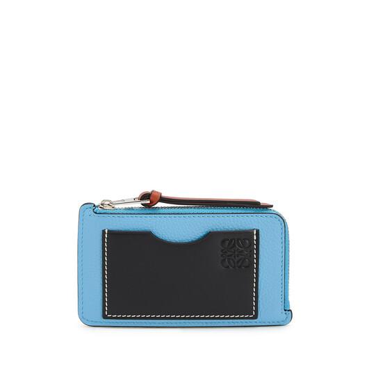 LOEWE Coin Cardholder Large Sky-Blue/Black front