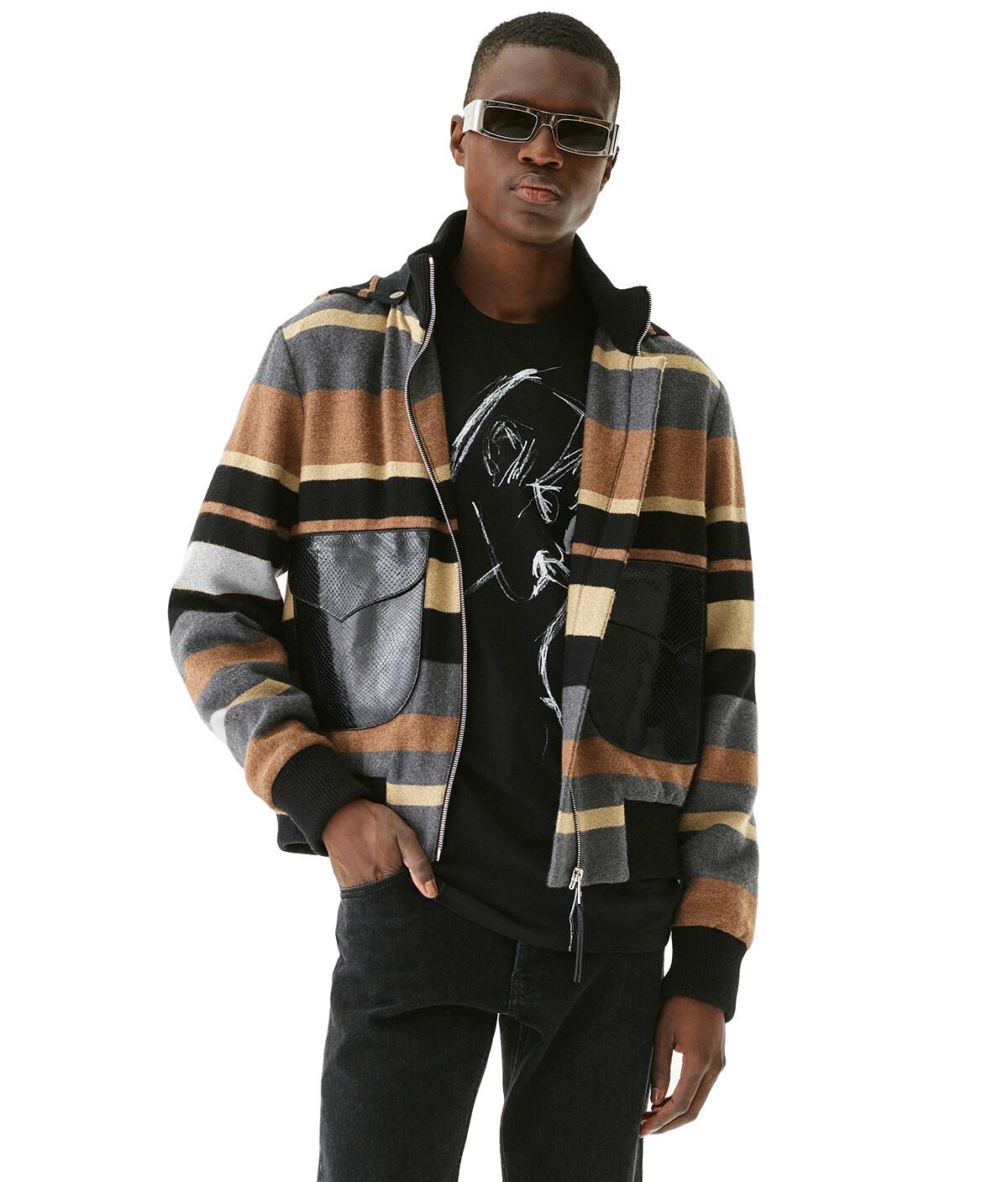 LOEWE Stripe Blouson Black/Beige/Grey front