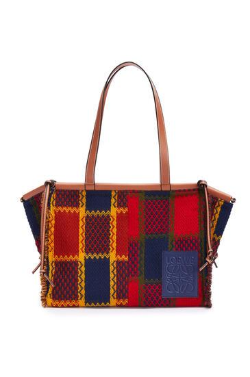 LOEWE Cushion tote bag in tartan and calfskin Red pdp_rd