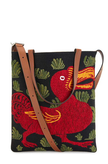 LOEWE Vertical Tote Animals Bag Black/Red front