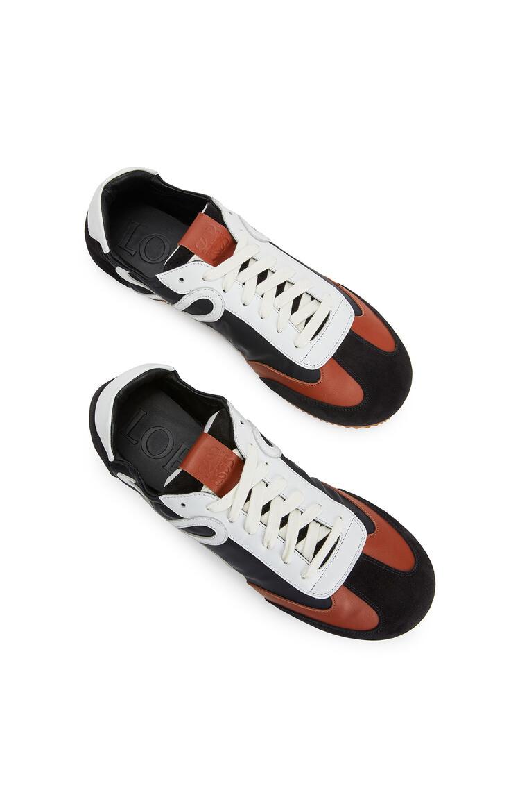 LOEWE Ballet runner in nylon and calf Black/White/Brown pdp_rd