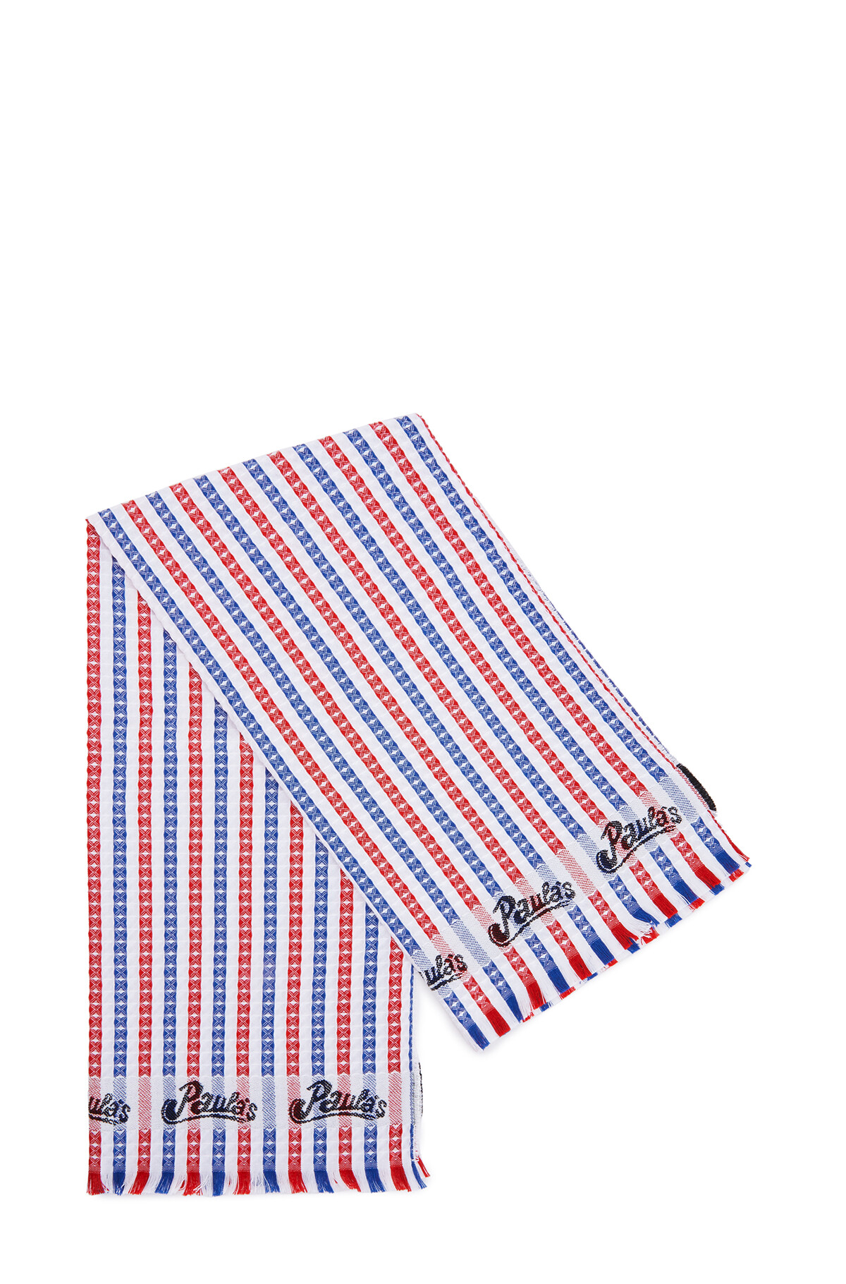 LOEWE 42Cm X 92Cm Waffle Towel In Striped Cotton Red/Blue front