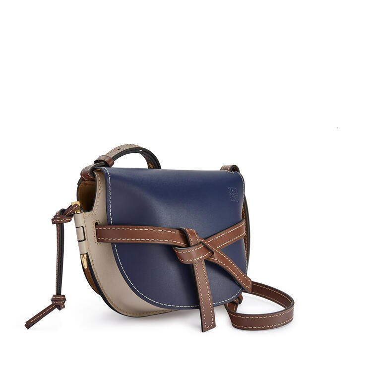 LOEWE Small Gate bag in soft calfskin Marine/Light Oat pdp_rd