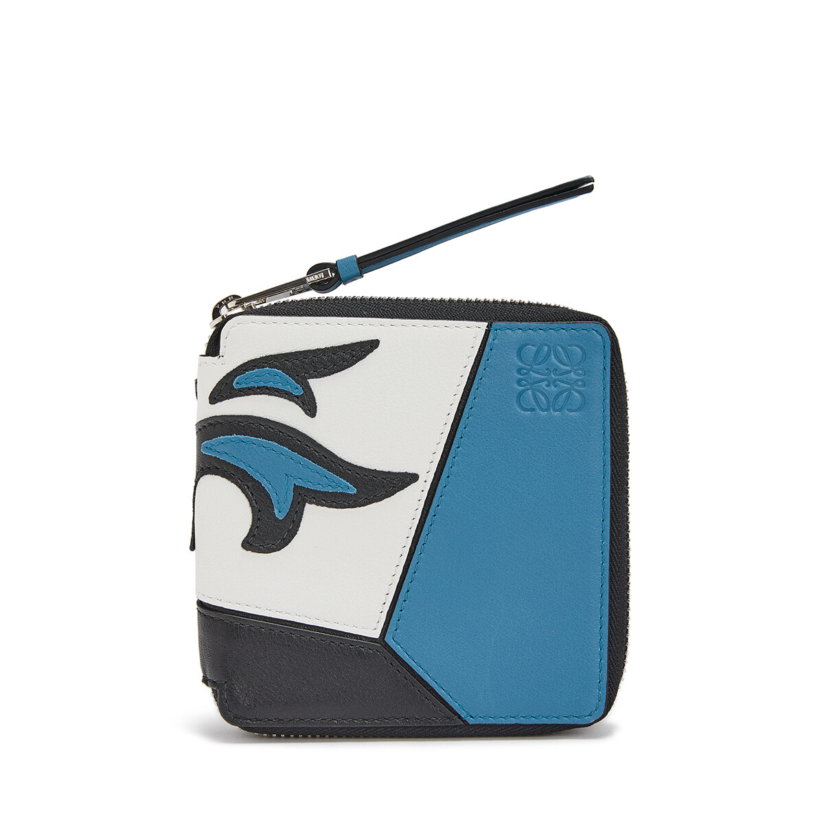 LOEWE Puzzle Cowboy Square Zip Wallet Black/Light Blue front