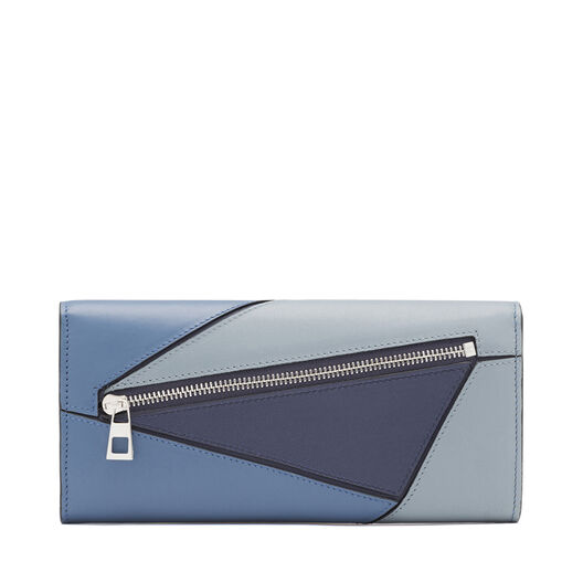 LOEWE Puzzle Continental Wallet Varsity Blue Multitone all