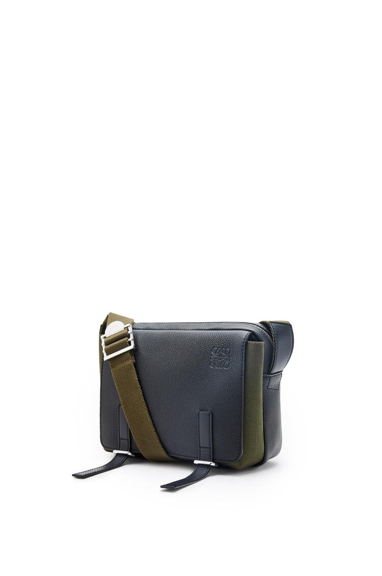 LOEWE XS Military Messenger bag in soft grained calfskin and canvas Black/Forest Green pdp_rd