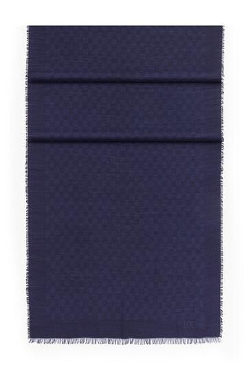LOEWE 70X200 Scarf Anagram Damier Navy Blue front