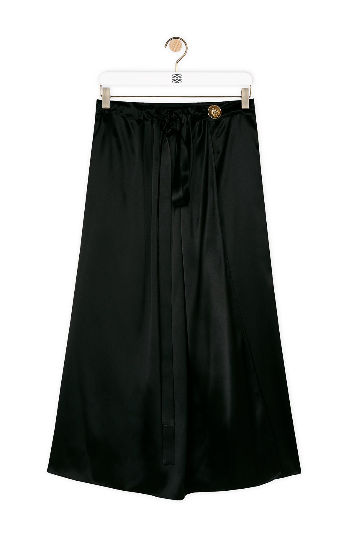 LOEWE Satin Wrap Skirt Black front
