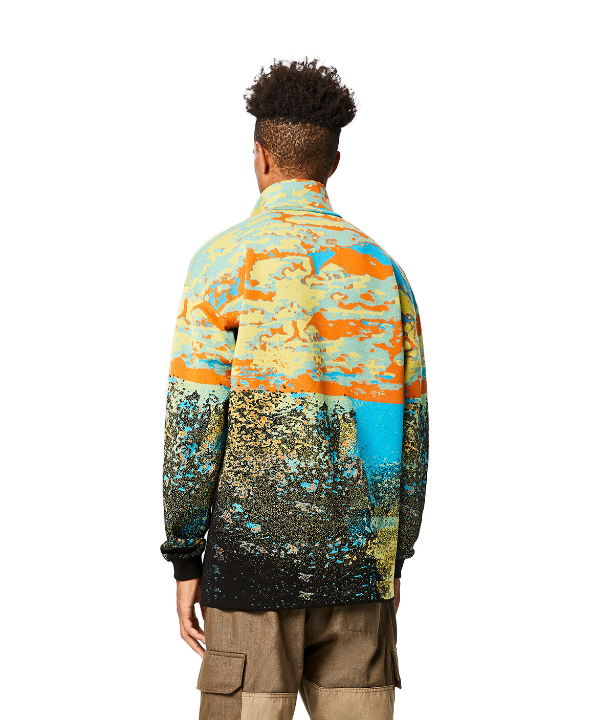 LOEWE Eln High Neck Zip Sweater Azul/Naranja front