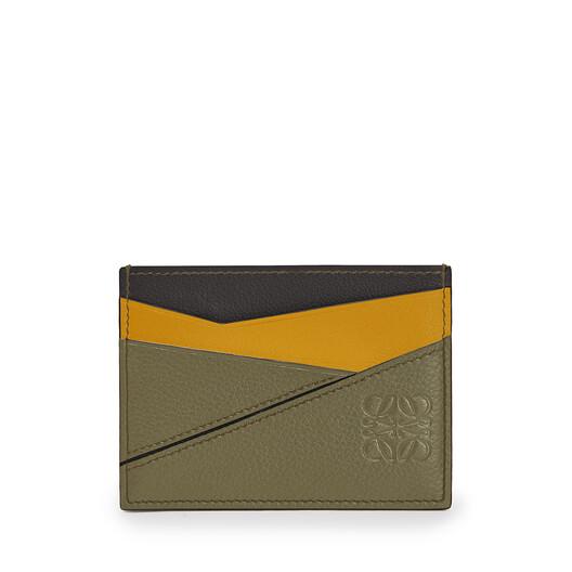 LOEWE Puzzle Plain Cardholder Khaki Green/Ochre front