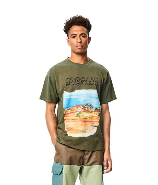 LOEWE Eln Watercolor Print T-Shirt Khaki Green front