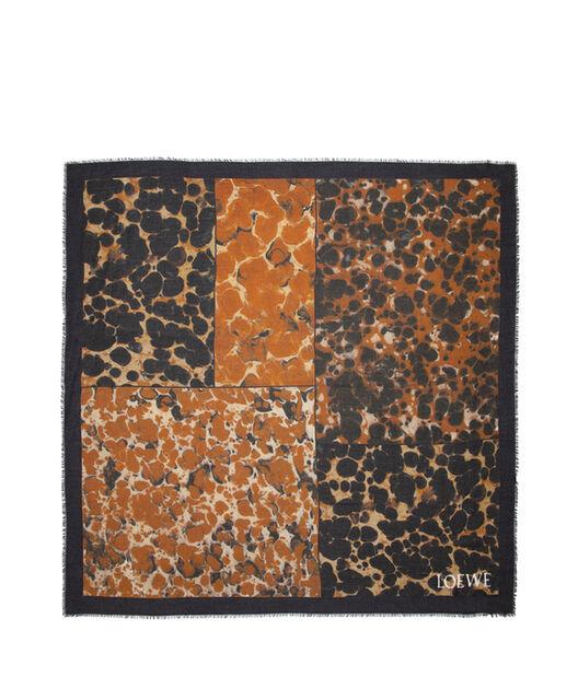 LOEWE 140X140 スカーフ パッチワーク タイル Brown/Black all
