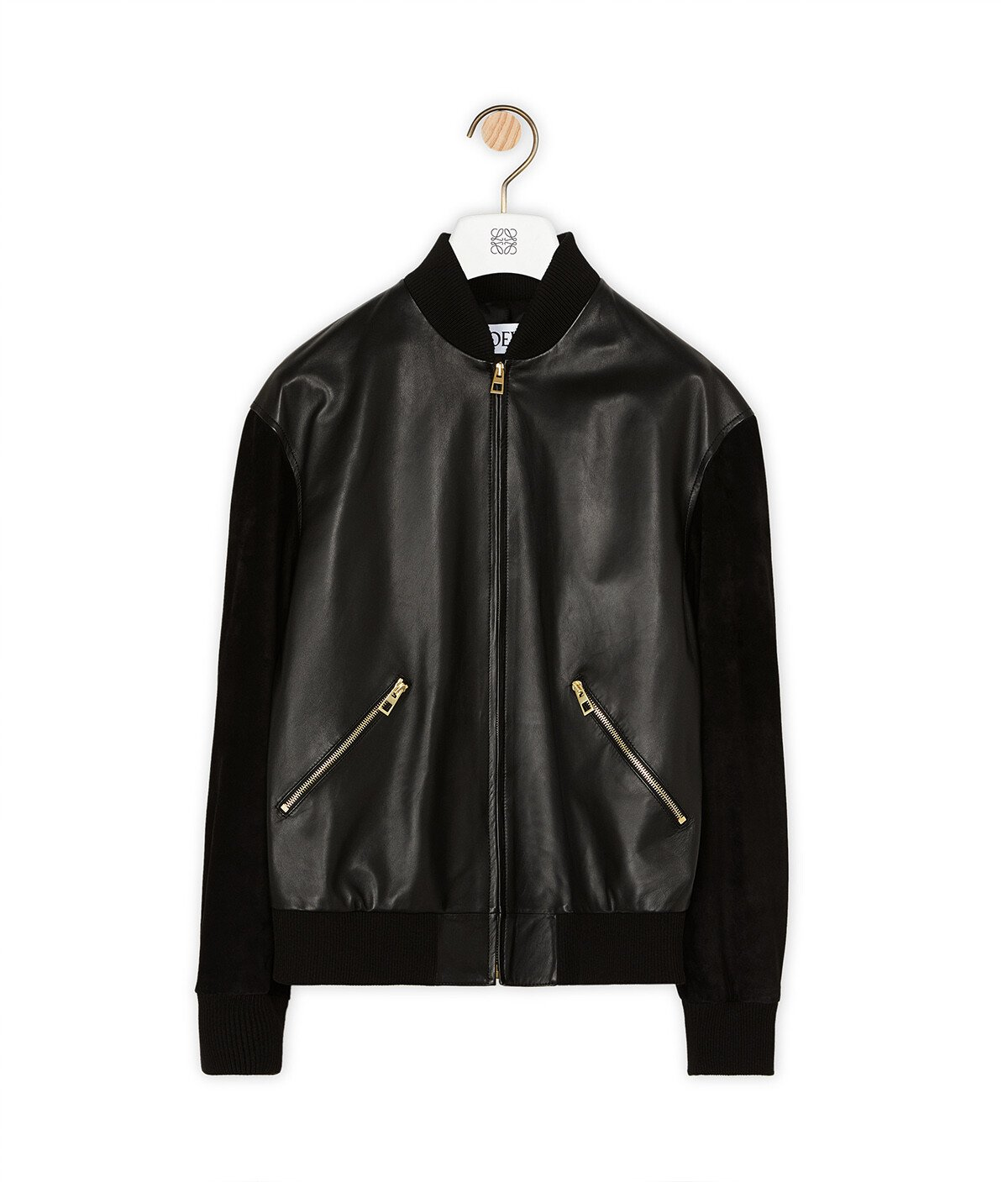 LOEWE Zip Blouson Round Back Patch 黑色/棕褐色 front
