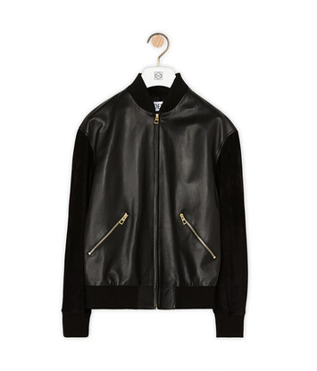 LOEWE Zip Blouson Round Back Patch Black/Tan front