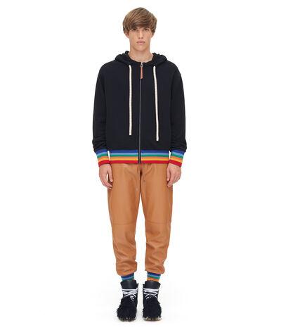 LOEWE Zip Hoodie Rainbow Rib Black/Multicolor front