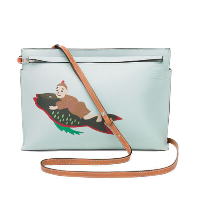 LOEWE T Pouch Paula Mermaid Bag Aqua front