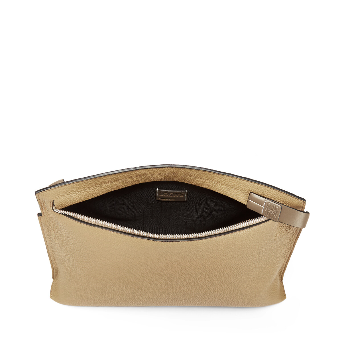 LOEWE T Pouch Bicolor Beige Desierto/Topo Oscuro front