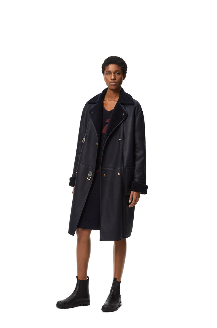 LOEWE Oversize coat in shearling Navy Blue pdp_rd